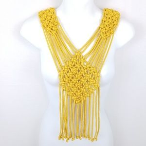 """Macrame Necklace Gold Ropes 19"""" L Knot Statement"""